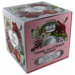 Tisane Jour d'Amour biologique cube carton 24 sachets Provence d'Antan