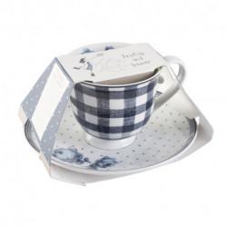 Tasse et sous-tasse Vintage Indigo Porcelaine Katie Alice