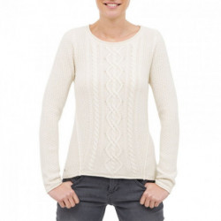 Pull col rond torsades blanc Paige OXBOW