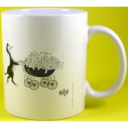 Mug porcelaine blanche 33 cl décor Chats de Dubout